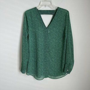 CAbi Green Bountiful Cut-Out Black Sheer Blouse